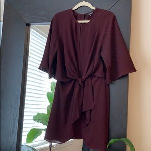 Topshop knot front dress in burgundy